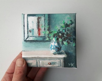 small canvas print, acrylic painting , flower print, stillife print, bohemian print, small painting, tiny canvas, mini canvas, 4x4 print