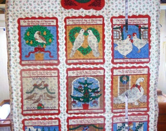 Vintage Quilted 12 Days of Christmas Wall Hanging