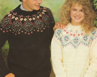 Womens and Mens Fair Isle Yoke Sweater PDF Knitting Pattern : Fairisle . Jumper . 32, 34, 36, 38, 40, 42 & 44 inch chest . Instant Download