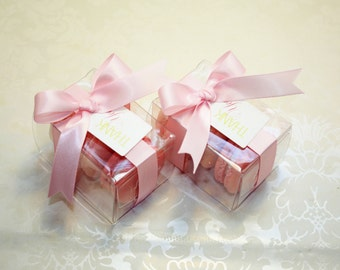 Pink Ombre Favor Boxes - 12 Pink Wedding Favors, Pink Bridal Favors