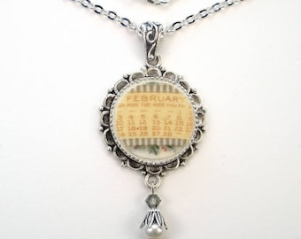 Broken China Necklace February Pendant Handcrafted Jewelry by Charmedware