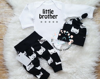 Little Brother Outfit Newborn Baby Boy Outfit Coming Home Outfit Newborn Baby Boy Outfit Baby Shower Gift Black and White Masks