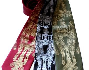 "Black Plague necktie. ""Plaguesley"" men's tie. Silkscreened paisley & bubonic plague. Virologist gift, immunologist, medical historian gift."