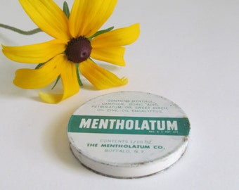 Mentholatum Tin Advertising Tin Container Apothecary Decor Medicine Cabinet Decor Vintage Tins medical advertising homeopathic remedies