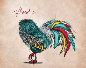 Headless chicken /// Limited edition square print