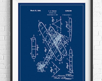 Airplane Patent Print, Blueprint Poster, Airplane Art, Airplane Decor, Aviation Gifts, Aviation Art, Aviation Decor, Plane Art, Kite Biplane