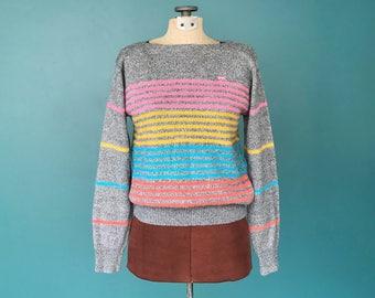 Vintage Striped 80s Sweater, Retro Sweater, Gray Sweater, 1980s Sweater, Rainbow Stripe, Brittania Sweater, Size Small, TaraLynEvansStudio