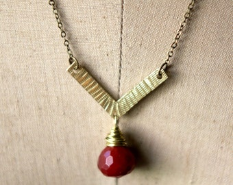 Boho Brass Pendant, Hammered Gold Brass Necklace, Red Gemstone Drop, Layering Necklace