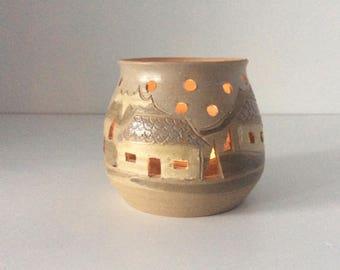 Southwestern Pueblo Votive Candle Holder | Studio Pottery | USA | Vintage