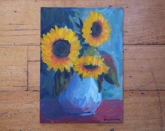 Original Acrylic Painting on Board, Sunflowers, Still Life Painting