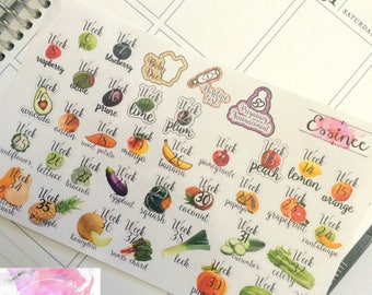 Pregnancy Planner Stickers >> Pregnancy Fruit >> Pregnancy Tracker Stickers >> Pregnancy Fruit Weekly Tracker Stickers