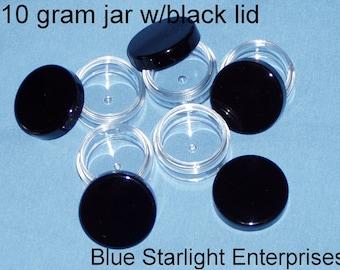 12 - 10 gram storage jars with black lids - item 210N