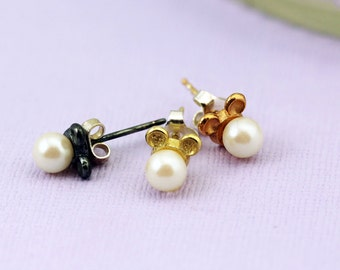 Bridesmaid! Handmade Sterling Silver Mouse Earrings with pearls