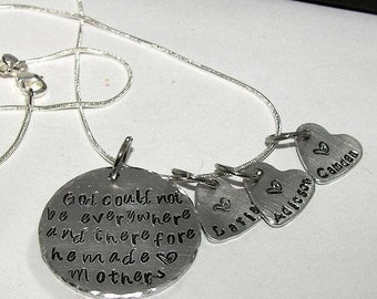 God could not be everywhere, God created mothers, Hand stamped jewelry, mommy jewelry, personalized jewelry, engraved, custom stamped