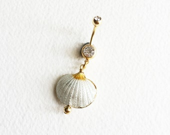 belly button ring, dangle belly ring, cloisonne, Belly button ring,shell, bellybutton ring, beach wedding, body jewelry, GOLD belly ring