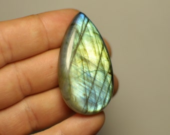 Natural Blue Flash Green Light Labradorite Cabochon Gemstone Pear Shape Pendant size Cab. 84.95 Cts. 48x26.5x7.5 mm. K4