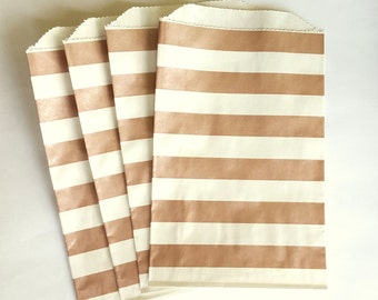 "25 Medium Metallic Rose Gold Horizontal Stripes Paper Gift Bags 5 x 7.5"", Candy Buffet Bags, Bridal Shower Bags, Wedding Favor Bags"