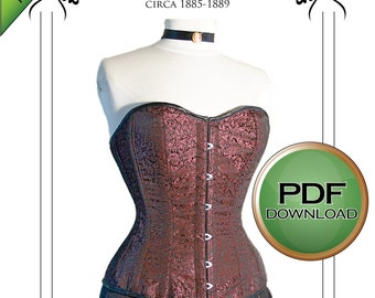 Corset Sewing Pattern, Victorian, Steampunk Over Bust Corset, Large 32 inch-36 Inch Digital Download, PDF, Tight Lacing Great Fitting