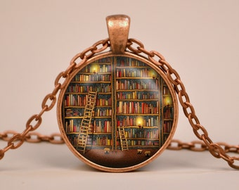 Vintage Library Books Pendant Necklace or Keyring Glass Art Print Jewelry Gifts for Her or Him Book Lover Teacher Librarian Writer Read