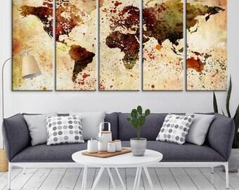 World Map Push Pin, World Map Wall Art, World Map Push Pin Grunge Wall Art Canvas Print, World Map Push Pin Travel Wall Art Canvas Print