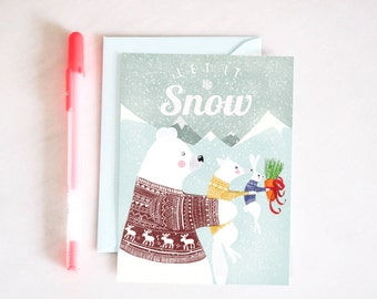 "Christmas card ""LET IT SNOW"" 10 x 15 cm and envelope - illustration for children's room"