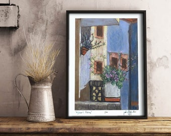 "Limited Edition Art Print, signed & numbered, ""Neighbor's balcony"", 8"" x 10"", Poster, Flowers, Blue, Impressionism, Wall Decor, Rustic decor"