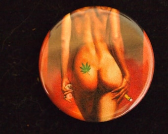 weed pot bud Female model 2 fairy button pin custom art collage
