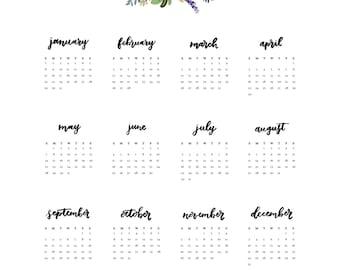 2017 calendar / printable calendar / 5x7 calendar / desktop calendar / handlettering / printable