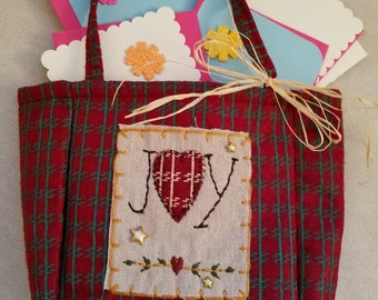 """Handmade note cards w/envelopes in a cute purchased Christmas bag (5-7"""" x 9"""") minimally embellished...note cards are blank for your message"""