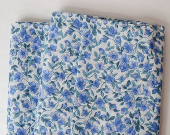"""By the Yard 1950s Vintage Floral Fabric Blue Dobby Leno Small Cotton 36"""" wide Blue White"""