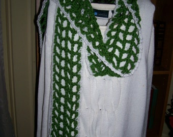 Crocheted Scarf - Wrap - Cowl - Shawl -  Accessories - Womens Wear  ''COLETTE''  in Kelly Green and Whie