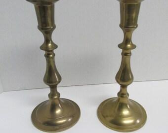 Vintage Set of 2 Brass Candlestick Holders