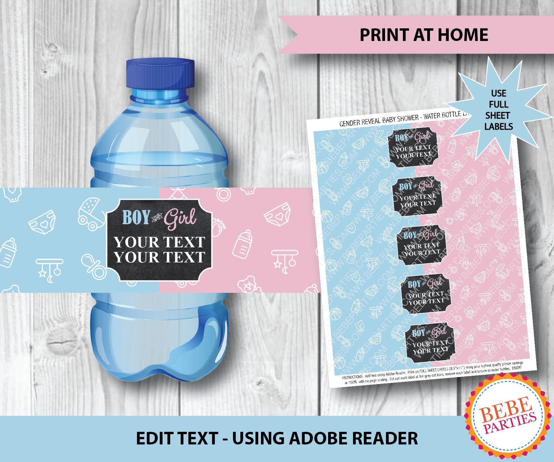 DIGITAL Boy Or Girl Gender Reveal Water Bottle Labels