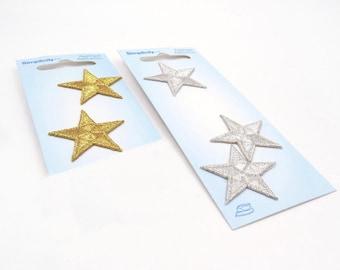 Gold Star Applique. Iron On Stars. Gold Stars. Silver Stars. Star Applique
