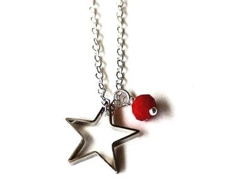 Clearance sale Dark pink bead and silver star necklace CLEARANCE