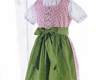 """Child-Growing Dirndl """"Charlotte"""" Color pink with apron"""