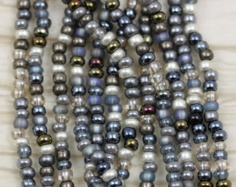 6/0 Fancy Grey Mega Mix Czech Seed Beads - loose, 70grams