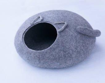 Felt cave Grey cat cave Wool cat bed Pet supplies Cat furniture Felted cat bed Eco cat bed cat nap cocoon Cat house Pet furniture