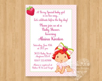 Sweet Strawberry Shortcake Baby Shower Invitations Digital File Cute Unique Adorable