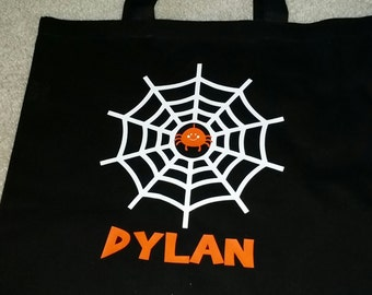 Trick or Treat Bag -Halloween Bag - Personalized Trick or Treat Bag - Spiderweb Bag - Halloween Bag with Name - Halloween Party Bag