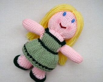 Blonde Dolly in Green Dress, Children's Toy, Stuffed Doll, Soft Toy, Baby Girl Gift