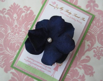 Girl hair clips - Blue flower hair clips - girl barrettes