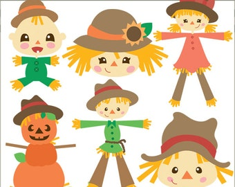 Scarecrow Clipart -Personal and Limited Commercial Use- Scare crow baby, pumpkins, boy and girl Clip art