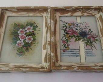 Frame Set, Reverse Painted Glass, Vintage, 6x5 frame, White Wood Picture Frames, childrens art, nursery decor, hand painted glass, cottage