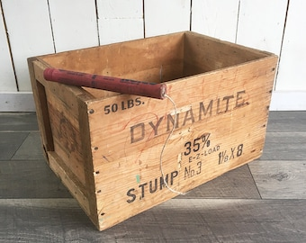 Vintage Wooden Dynamite Crate, Explosives Crate, Wooden Box, Gold Medal Explosives Shipping Crate - Illinois Powder Mfg. Co.