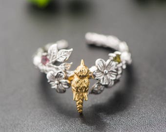 925 stamped sterling silver natural tourmaline bird and flower adjustable ring