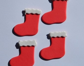 12 edible CHRISTMAS STOCKINGS SOCK cake cupcake decoration novelty topper cute gift xmas party birthday holiday cookie