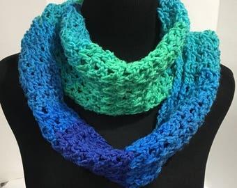 Blue Teal Aqua Crochet Infinity Scarf