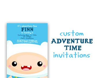 Adventure Time Invitation, Custom Adventure Time Birthday Invites, Finn the Human, Jake the dog party, 5x7 Printable Invitations.