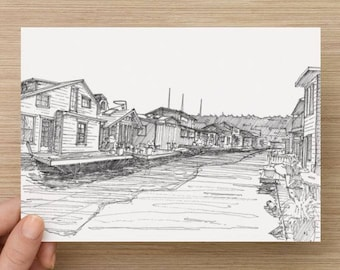 Ink Sketch of Old Houseboats on Lake Union in Seattle, Washington - Drawing, Art, Floating Home, Pen and Ink, Architecture, 5x7, 8x10, Print